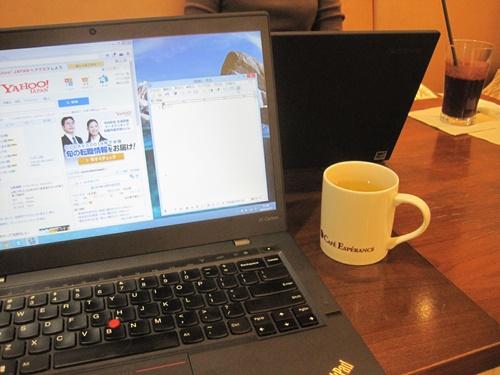 台風19号が近づいているけど、カフェにThinkPad集合